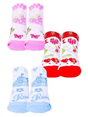 Носки, 3 пары Malerba. Цвет: голубой, красный, розовый