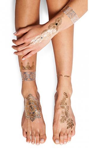 Тату sheebani FLASH Tattoos. Цвет: металлический золотой