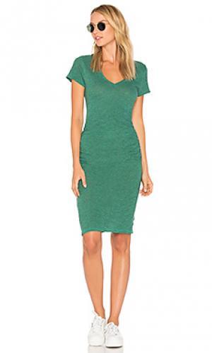 Платье-футболка с рюшами Lanston. Цвет: зеленый
