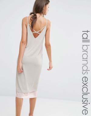Alter Tall Платье-комбинация в стиле колор блок с отделкой сзади. Цвет: розовый