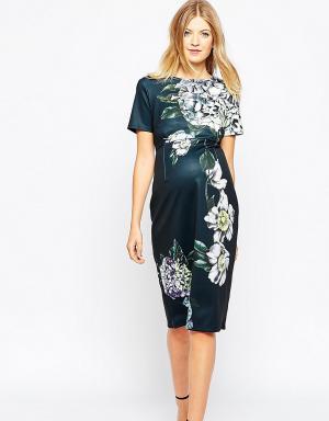 ASOS Maternity Облегающее платье миди для беременных Premium. Цвет: мульти
