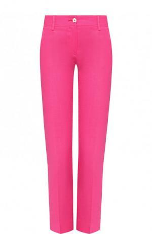 Укороченные брюки из смеси вискозы и льна со стрелками Kiton. Цвет: фуксия