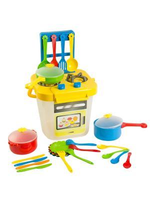 Набор посуды столовый Ромашка с плиткой 25 эл. ТИГРЕС. Цвет: зеленый, фиолетовый, оранжевый, розовый, желтый