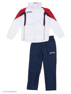 Костюм спортивный детский (куртка+брюки) SUIT EUROPE JR ASICS. Цвет: красный, белый