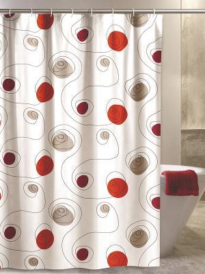 Штора для ванной комнаты 180х200 100% ПВХ IQ-SPA. Цвет: красный