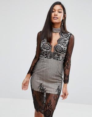Love Triangle Кружевное платье миди с чокером и глубоким вырезом. Цвет: черный
