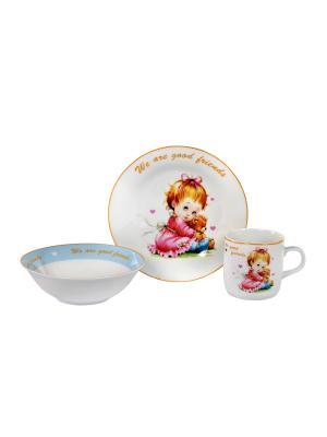 Посуда  детская в наборе 3 предмета, п/у. Elff Ceramics. Цвет: голубой, розовый, белый