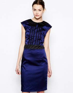 Платье-футляр  Marie Hershey Pascual. Цвет: синий