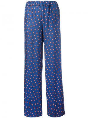 Расклешенные брюки с принтом звезд P.A.R.O.S.H.. Цвет: синий