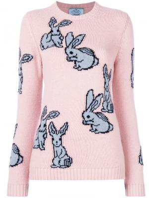 Свитер вязки интарсия с кроликами Prada. Цвет: розовый и фиолетовый