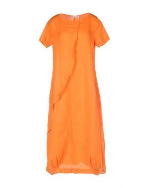 Платье длиной 3/4 LA FABBRICA DEL LINO. Цвет: оранжевый