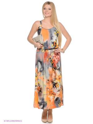 Платье МадаМ Т. Цвет: оранжевый, желтый, серый, красный