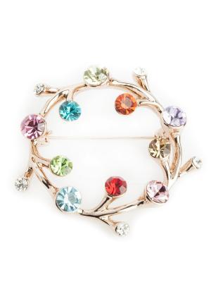 Брошь Fiore Lune. Цвет: золотистый, зеленый, бирюзовый, голубой, красный, розовый