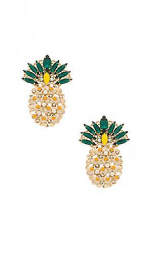 Серьги-гвоздики pineapple Anton Heunis. Цвет: металлический золотой