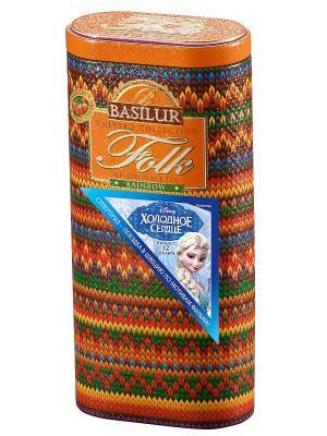Чай Folk Rainbow Basilur. Цвет: оранжевый, зеленый, фиолетовый, красный