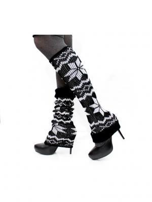 Вязаные гетры Hot Fashion. Цвет: черный, белый