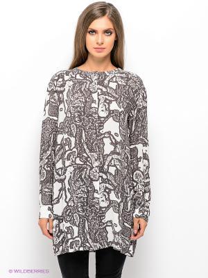 Блузка SELECTED. Цвет: белый, темно-серый