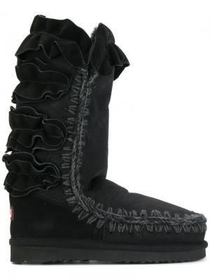 Зимние ботинки с оборками Mou. Цвет: чёрный