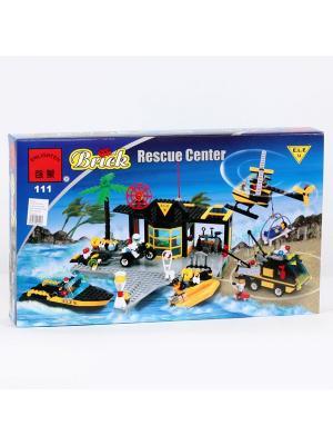Конструктор Станция спасателей (причал+вертолет и т.д.) 528 дет. ENLIGHTEN. Цвет: синий, желтый, черный