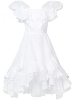 Платье с оборками Natasha Zinko. Цвет: белый