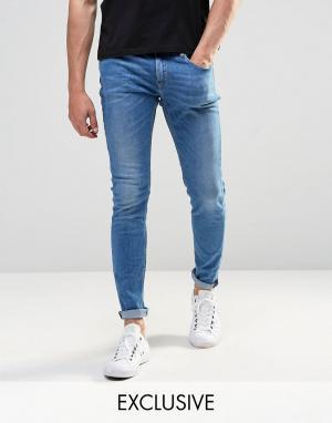 D.I.E Супероблегающие светлые джинсы . Storm. Цвет: синий