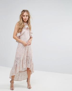 Foxiedox Кружевное асимметричное платье-халтер. Цвет: розовый