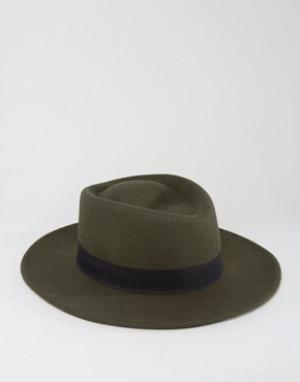 ASOS Шляпа цвета хаки с широкими полями. Цвет: зеленый