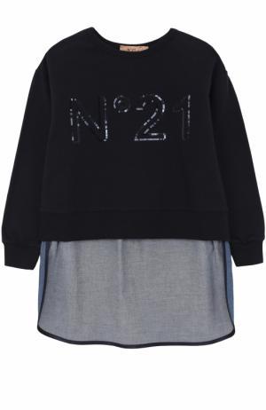 Хлопковый свитшот с пайетками и удлиненной спинкой No. 21. Цвет: темно-синий