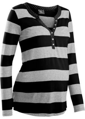 Мода для беременных: футболка с линией пуговиц и длинным рукавом (синий ментол в полоску) bonprix. Цвет: синий ментол в полоску