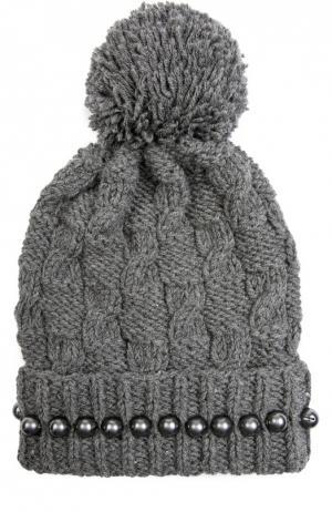 Шерстяная шапка с помпоном и бусинами 7II. Цвет: темно-серый