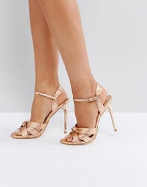 Office Босоножки на каблуке цвета розового золота Hollie. Цвет: золотой