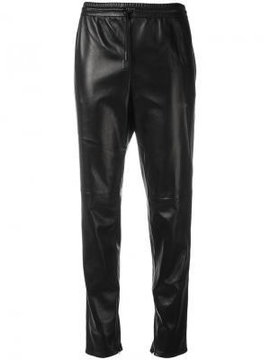 Прямые кожаные брюки Saint Laurent. Цвет: чёрный