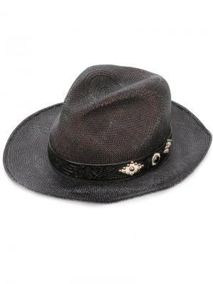 Соломенная шляпа с кожаной деталью Htc Hollywood Trading Company. Цвет: чёрный