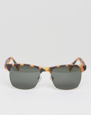 AJ Morgan Солнцезащитные очки в стиле ретро с черепаховой оправой. Цвет: коричневый