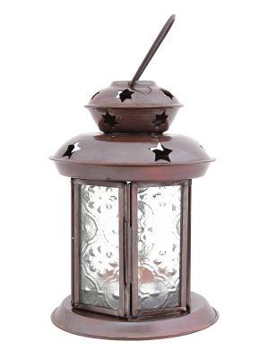 Подсвечник Фонарь с чайной свечой ГАНГ. Цвет: темно-коричневый