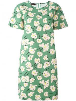 Платье-рубашка с цветочным узором Rochas. Цвет: зелёный