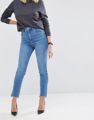 ASOS Умеренно выбеленные узкие джинсы в винтажном стиле FARLEIGH. Цвет: синий
