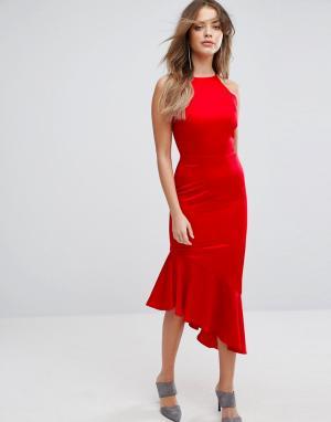 Lavish Alice Атласное платье миди с каскадным краем. Цвет: красный