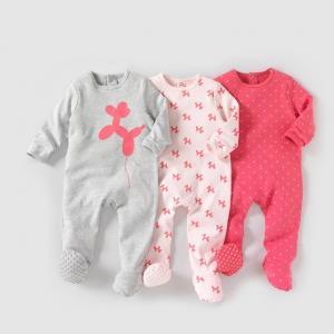 Комплект из 3 пижам интерлока 0 мес-3 лет R édition. Цвет: розовый + серый + фуксия