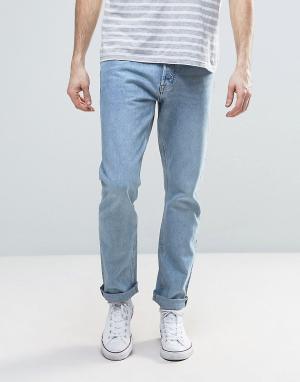 Weekday Синие выбеленные прямые джинсы Common. Цвет: синий