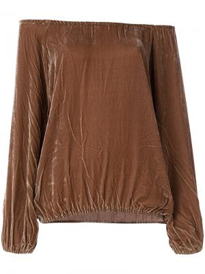 Блузка с открытыми плечами Mes Demoiselles. Цвет: коричневый