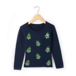 Пуловер, расшитый блестками R kids. Цвет: синий морской
