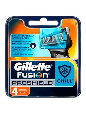 Сменные кассеты для бритвы Gillette Fusion ProShield Chill, 4 шт.. Цвет: черный, оранжевый, синий
