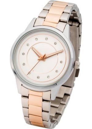 Двухцветные наручные часы (серебристый) bonprix. Цвет: серебристый