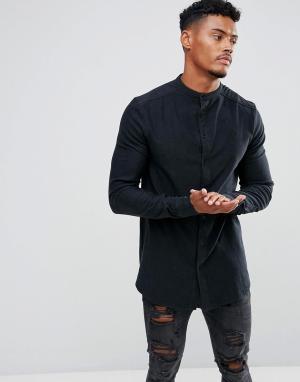 SikSilk Облегающая джинсовая рубашка с воротником на пуговицах. Цвет: черный