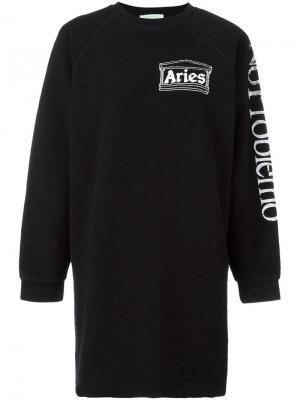 Платье-толстовка свободного кроя Aries. Цвет: чёрный