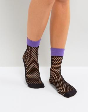 Jonathan Aston Ярко-фиолетовые сетчатые носки. Цвет: фиолетовый