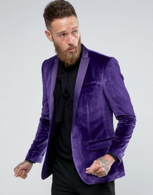 ASOS Фиолетовый бархатный блейзер зауженного кроя. Цвет: фиолетовый