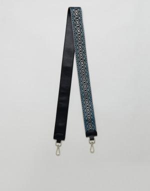 ASOS Броский съемный ремешок с вышивкой. Цвет: синий