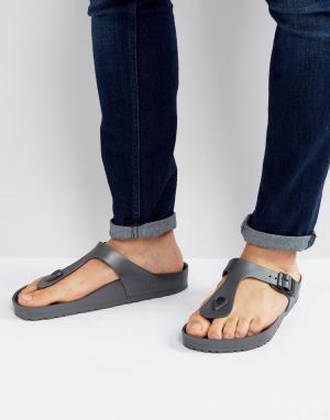 Birkenstock Темно-серые сандалии металлик Gizeh Eva. Цвет: серый